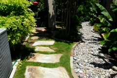 Hamilton - Flagstone stepping stnes and stone river with edging